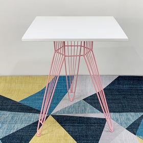 SFBCF028 - Bàn cafe vuông 60cm gỗ cao su sơn Trắng chân sọc phi