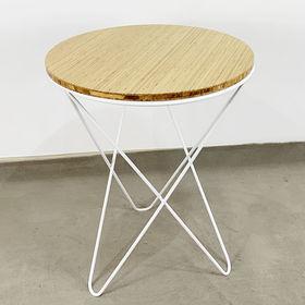 SFBCF030 - Bàn cafe gỗ TRE tròn 60cm chân sắt V xéo
