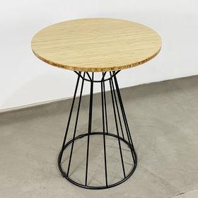 SFBCF033 - Bàn cafe gỗ TRE tròn 60cm chân sắt cổ lỏ nhỏ