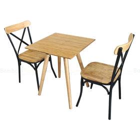 BFCBCF004 - Bộ bàn ghế cafe bamboo chân gỗ và ghế lưng sắt