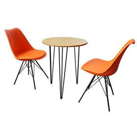 CBCF008 - Bộ bàn ghế cafe gỗ tre và 2 ghế nệm lưng nhựa