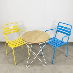 CBCF016 - Bộ bàn ghế cafe gỗ tre chân V và ghế sắt có tay