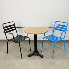 CBCF019 - Bộ bàn ghế cafe gỗ tre chân gang đúc và 2 ghế sắt