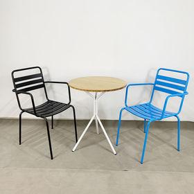 CBCF020 - Bộ bàn ghế cafe gỗ tre chân 3 chạng và 2 ghế sắt
