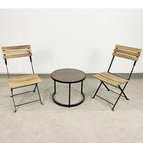 CBCF021 - Bộ bàn ghế cafe ngồi thấp bàn tròn và 2 ghế