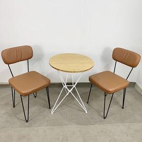 CBCF023 - Bộ bàn ghế Cafe tròn Gỗ Tre và ghế nệm