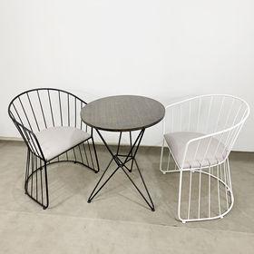 CBCF024 - Bộ bàn ghế cafe gỗ tre và ghế vòm khung sắt