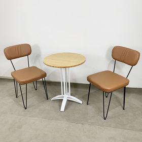 CBCF025 - Bộ bàn ghế cafe gỗ tre chân sắt và ghế nệm Hairpin