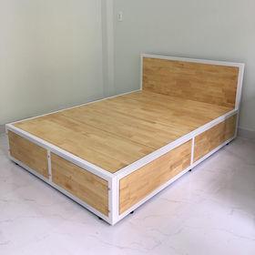 SFGN001 - Giường gỗ cao su khung sắt lắp ráp
