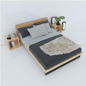 SFGN003 - Giường ngủ gỗ cao su viền gỗ Ferro