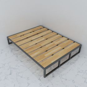 SFGN005 - Giường ngủ đôi gỗ cao su khung sắt lắp ráp