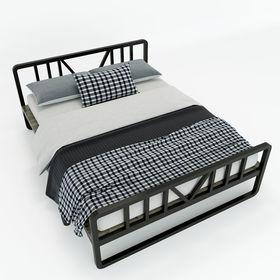SFGN016 - Giường ngủ đôi DEMON gỗ cao su khung sắt lắp ráp