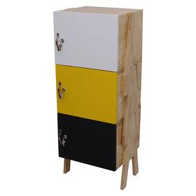 SFTCN001 - Tủ cá nhân 3 tầng có khóa cửa tủ xếp chồng gỗ cao su