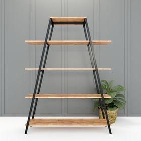 Kệ khung sắt chữ A 5 tầng gỗ cao su (120x35x160cm) - SFKS021