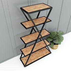 Kệ khung sắt chữ X 5 tầng gỗ cao su - SFKS022