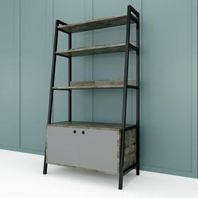 Kệ khung sắt hình thang 5 tầng có tủ gỗ cao su - SFKS024