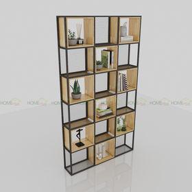 Kệ trang trí gỗ ô vuông khung sắt - SFKS029