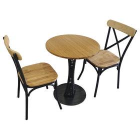 BFCBCF001 - Bộ bàn ghế CAFEBAMBOO chân hoa văn đứng và ghế lưng sắt