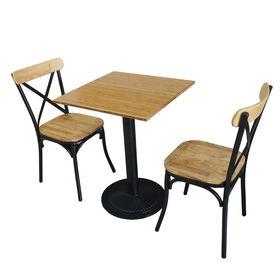 Bộ bàn bàn CAFEBAMBOO chân sắt gang và ghế cafe lưng sắt