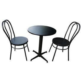 CBCF009 - Bộ bàn cafe tròn 60cm gỗ cao su và ghế sắt