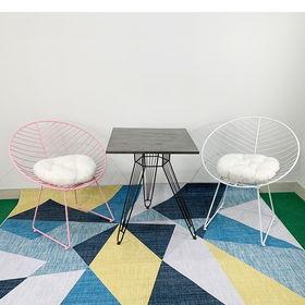 CBCF015 - Bộ bàn ghế cafe vuông và 2 ghế nón thư giãn