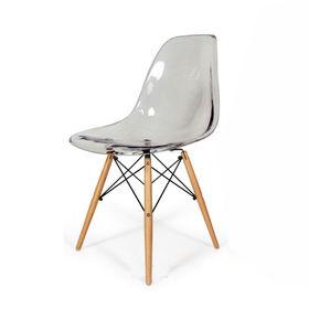 GBC006 - Ghế bàn cao lưng nhựa ABS chân gỗ màu trong suốt