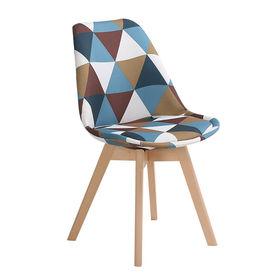 GBC008 - Ghế bàn cao lưng nệm chân gỗ hoa văn tam giác
