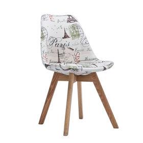 GBC009 - Ghế bàn cao lưng nệm chân gỗ họa tiết hình tháp Eiffel