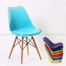 GBC029 - Ghế nhựa có đệm chân gỗ nhiều màu