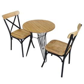 BFCBCF002 - Bộ bàn ghế CAFEBAMBOO chân sắt lap và ghế lưng sắt