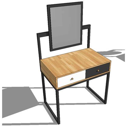 Bàn trang điểm gỗ cao su chân sắt gương chữ nhật SFBTD002