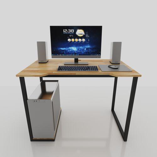 SFBLV002- Bàn vi tính có kệ CPU gỗ cao su chân sắt (1mx60cmx75cm)