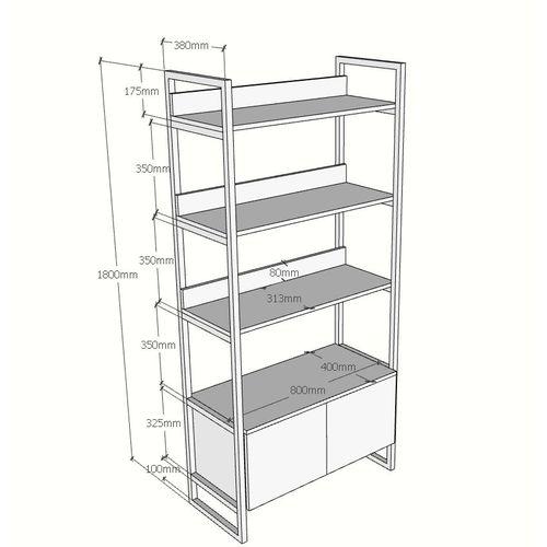 SFKS001- Kệ sách trang trí có tủ dưới gỗ cao su khung sắt (80x40x180cm)