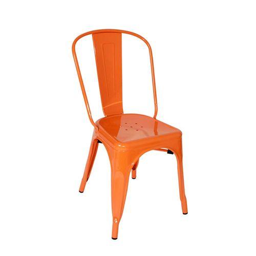 Ghế cafe tolix thấp có tựa lưng màu cam