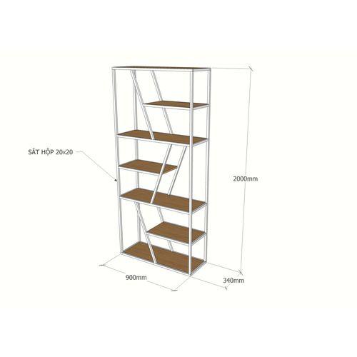 Kệ sách khung sắt gỗ cao su SFKS020