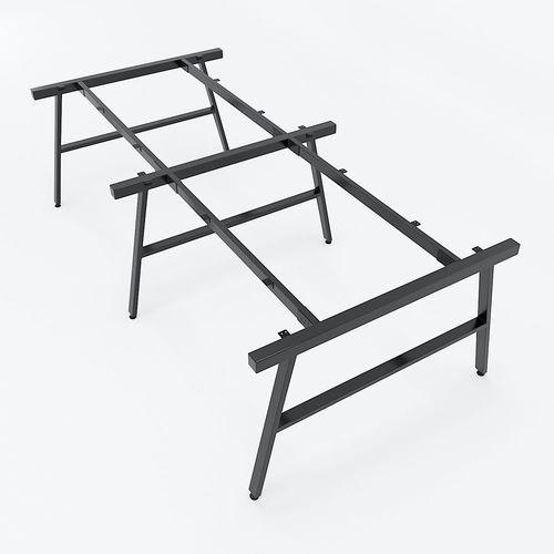 SFMC006 - Bàn cụm 4 chỗ ngồi gỗ cao su chân sắt chữ A