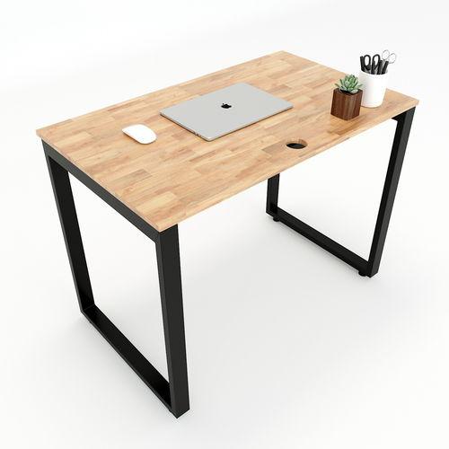 SFRT001 - Bàn làm việc đơn giản gỗ cao su chân sắt chữ nhật