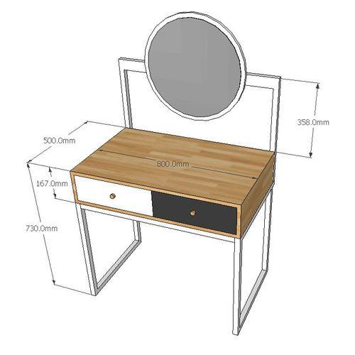 Bàn trang điểm gỗ cao su khung chân sắt gương tròn SFBTD002
