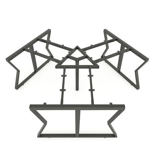 SFMC008 - Bàn cụm 3 chỗ ngồi góc 120 độ gỗ cao su chân sắt chữ M