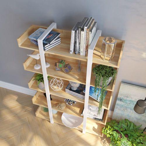 Kệ sách trang trí khung sắt trắng màu gỗ-SFKS007
