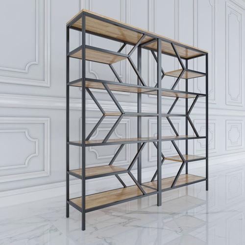 Kệ trang trí khung sắt gỗ cao su SFKS013