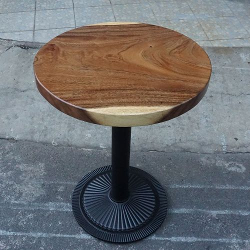 SFMT002 - Bàn cafe gỗ me tây tròn 60cm dày 5cm chân sắt đế gang đúc
