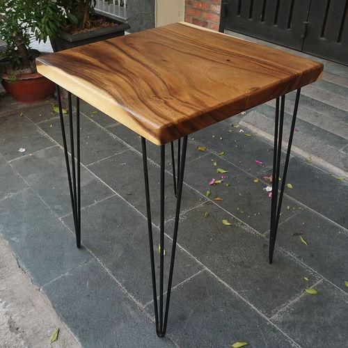 SFMT006 - Bàn cafe gỗ me tây VUÔNG 60cm dày 5cm chân Hairpin