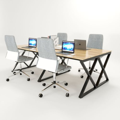SFXC006 - Bàn cụm 4 chỗ ngồi gỗ cao su chân sắt chữ X