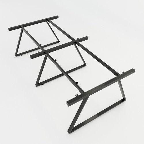 SFTV006 - Bàn cụm 4 chỗ ngồi gỗ cao su chân sắt hinh thang Vuông