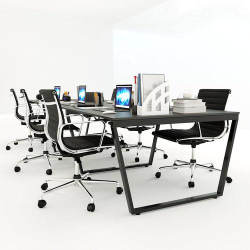 SFTC007 - Bàn cụm 6 chỗ ngồi gỗ cao su chân sắt hình thang cân