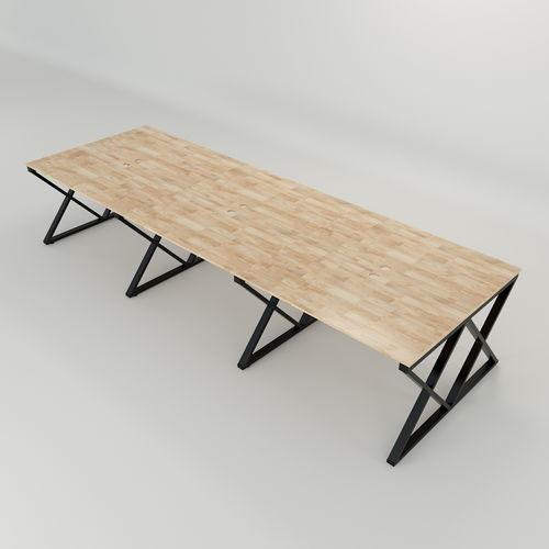 SFXC007 - Bàn cụm 6 chỗ ngồi gỗ cao su chân sắt chữ X