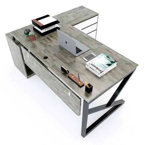 SFKC004- Bàn giám đốc gỗ cao su chân sắt chữ K gác tủ