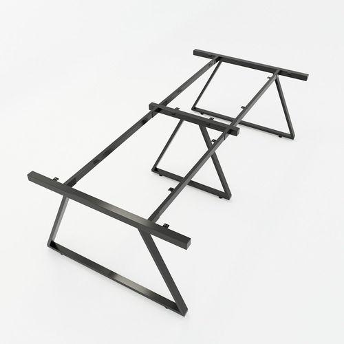 SFTV010 - Bàn họp gỗ cao su hệ 3 chân sắt hình Thang Vuông