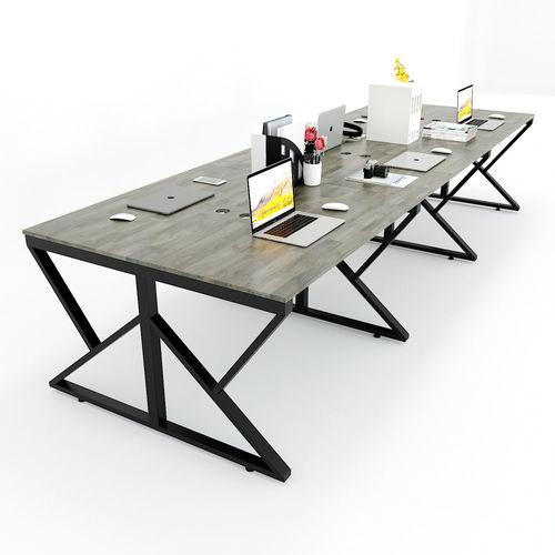 SFKC007 - Bàn cụm 6 chỗ ngồi gỗ cao su chân sắt chữ K